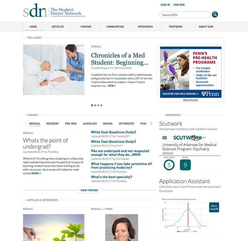 Student Doctor Network Custom Responsive Website